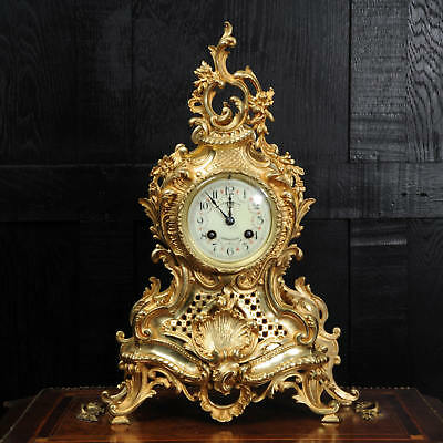 Japy Freres Rococo Gilt Bronze Boudoir Clock C1880 Fully Restored And Working