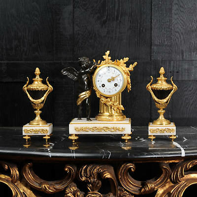 Antique French Bronze, Ormolu And Marble Boudoir Clock St C1880, Fully Working