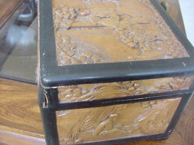 Vintage Oriental    carved wooden  jewelry Box