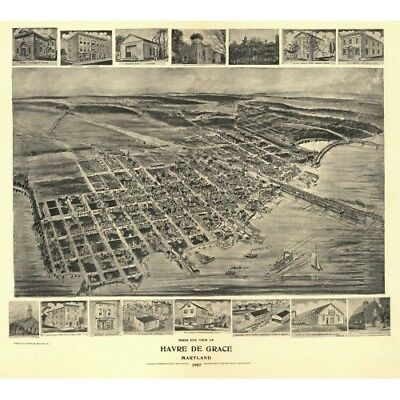 Havre de Grace Maryland 1907 Bird's Eye Perspective Vintage Map Repro Poster