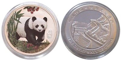 China Colorized Silvered Panda GEM BU Clad Coin