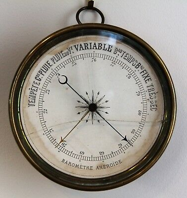 French Antique Maritime Brass Aneroide Barometer Variable Temperature