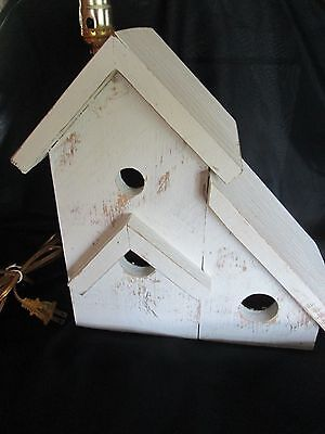 Lamp Bedroom Chicken Wire Bird House  Rustic Distressed Night Stand Solid Oak