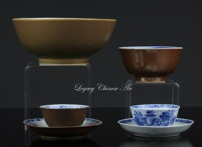 Group of two Antique Chinese 18th C. Bowls and two sets of Saucers and Cups