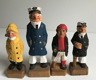Vintage Lot Of 4 Hand Carved And Painted Nautical Sailor Pirate Captain Figures