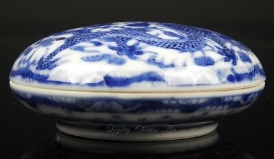"Antique Chinese Blue and White Republic Period ""Dragon"" Ink Box and Cover"