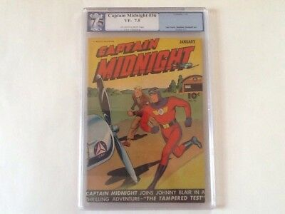Captain Midnight v1 #36 Fawcett Comics 1946 PGX 7.5 (Like CGC) Sheldon Moldoff