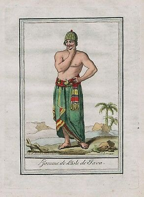 1780 - Java Indonesia island people costume engraving antique print Asia a 67592