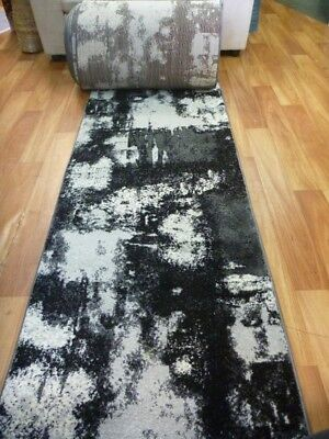 Hallway Runner 80cm wide by the Meter Diamond Black Grey Silver Wash Patches Des