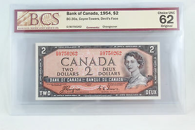 Bank Of Canada 1954 $2 Coyne-Towers Devils Face Choice Unc 62 Bank Note