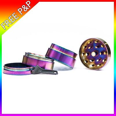 40mm Rainbow Metal Hand Grinder 4 Part Tobacco Herb Crusher For a GOOD TIME