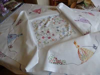 Vintage Hand Embroidered Tablecloth/ Exquisite Crinoline Ladies With Dogs