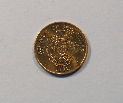 1982 Seychelles 1 Cent Brass Unc World Coin Low Mintage Africa mud crab