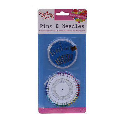Sewing Pins Needles Coloured Tailor Round Dress Assorted Travel Kit Craft Set