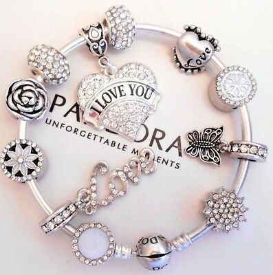 Authentic Pandora Silver Bangle Bracelet With White Love Heart European Charms.
