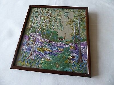 Vintage Hand Embroidered Picture-Stunning Heather & Lavender Covered Woodland.