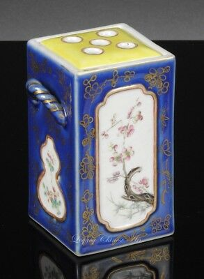 Rare Antique Chinese Tongzhi Mark and Period Blue Glazed Famille Rose Brush Pot
