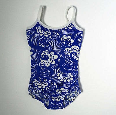Vintage 60s Swim Bathing Suit Blue White Flower Power Girls 6 7 8 FREE SHIPPING