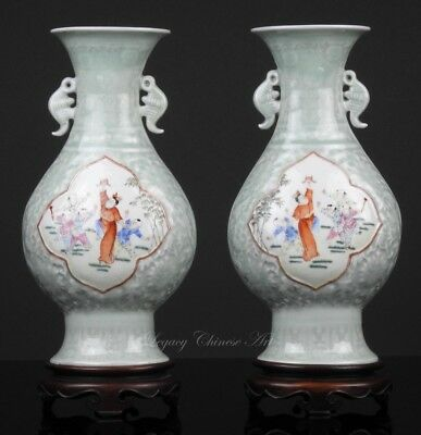 Pair of Old Chinese Celadon Glazed Molded Famille Rose Vases and Wood Stands