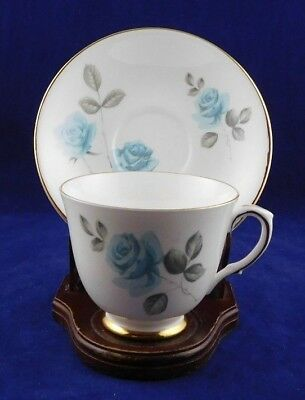 Royal Victoria Bone China TEA CUP & SAUCER England BLUE Roses