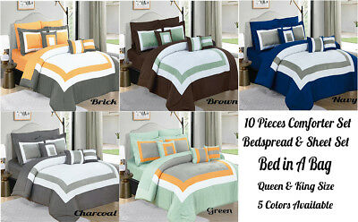 10 Piece Comforter Coverlet Bedspread Quilt & Sheets Set Fitted sheet Queen King