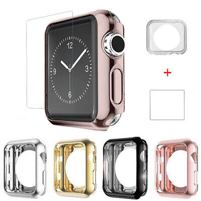 Apple Watch Series 3/2/1 38/42MM Bumper Cover Snap On Case + 9H Screen Protector