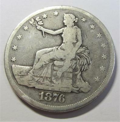1876 U.S. Silver Trade Dollar * 90% Silver * Circulated * A Nice Type For Book