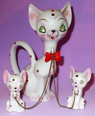 """Vintage Polka Dot Cat Red Bow Tie Chained to 2 Kittens 6"""""""