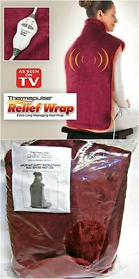 Thermapulse Relief Wrap Burgundy Extra-Long Massaging Heat Wrap ASOTV - NEW