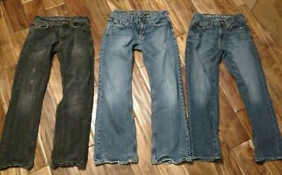 GUC LOT OF 3 Boys / Mens Sz. 26 / 28 American Eagle Distressed & Destroyed Jeans