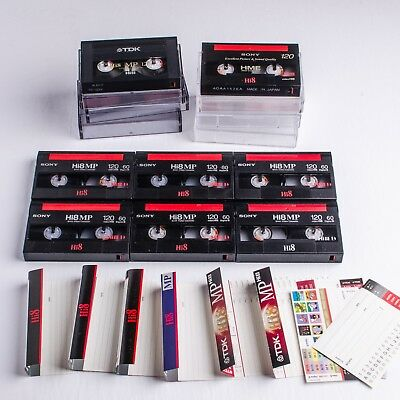 Lot Eight Hi8 120 Tapes: 6 x Sony MP, 1 x Sony Evaporated Metal, 1xTDK MP-- Used
