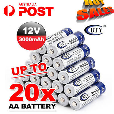 4-20X BTY AA Rechargeable Battery Recharge Batteries 1.2V 3000mAh Ni-MH Au Post