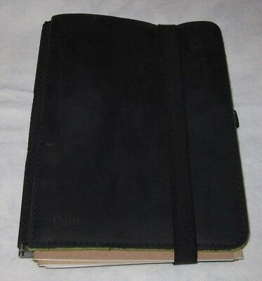 Roterfaden Taschenbegleiter A5 Planner Black Leather Outside Green Felt Inside