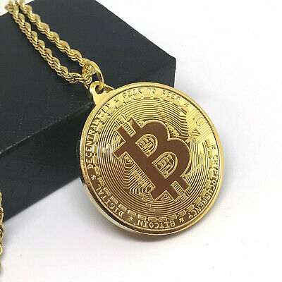 2018 New Version Bitcoin Gold Plated Pendant Necklace Collection with Gift Box