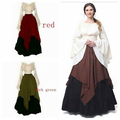 Adult Womens Renaissance Costume Medieval Maiden Vintage Fancy Cosplay Dress UK