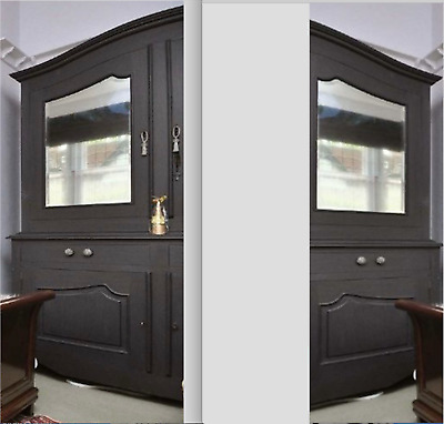 LARGE FARROW & BALL PAINTED ARMOIRE with MIRRORED DOORS