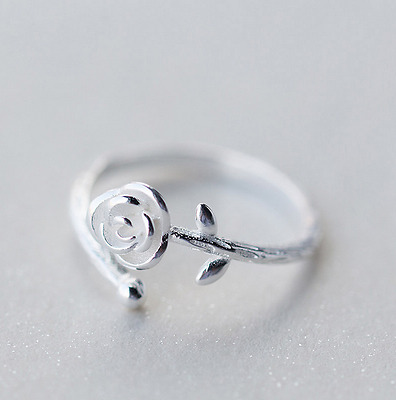 Unique Design Simple Ladies Girls Sliver Rose Flower Ring Band Adjustable Gift