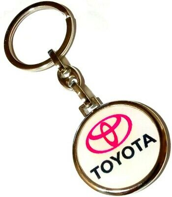 TOYOTA RED WHITE DOUBLE SIDED LOGO Metal Silver Keyring Keychain Car Auto