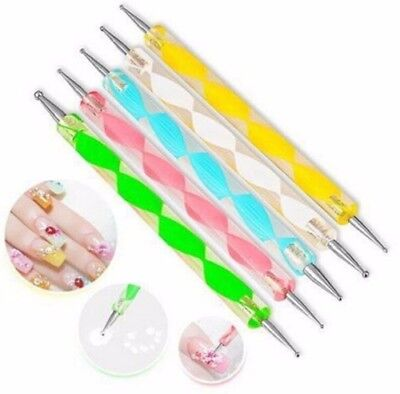 New 5PCS 2 Way Marbleizing Dotting Manicure Tools Painting Pen Nail Art Paint