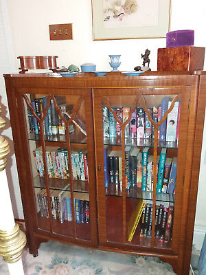 Vintage/antique glass and mahogany? display cabinet with 2 glass shelves