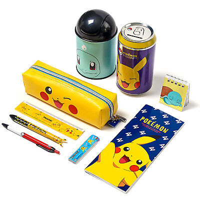 Pokemon Stationery Set 9pc Writing Letter Supplies Pencil Case Bag Sharp Kids