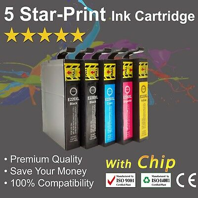 5 Ink Cartridges for Epson 220XL XP-220 XP-320 XP-324 XP-420 WF-2630 WF-2650