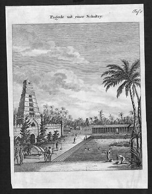 1800 - Indien India Temple Kupferstich engraving map view