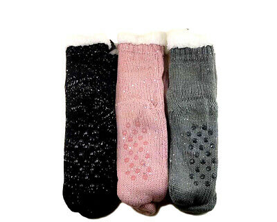 New 3 Pairs Ladys Thick Fur Bed Socks w Knitted Pattern luffy Home Sock Non Slip