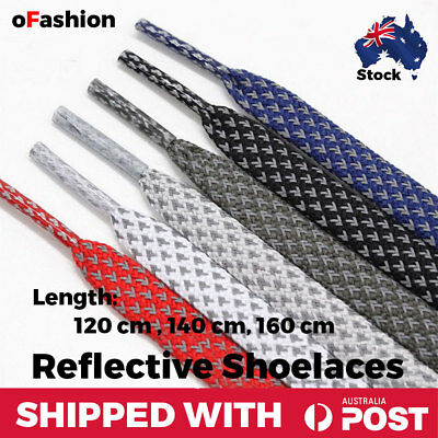 Reflective Shoelaces Flat Lace Sneakers Runners Jogging Sports Fashion Shoe Rope