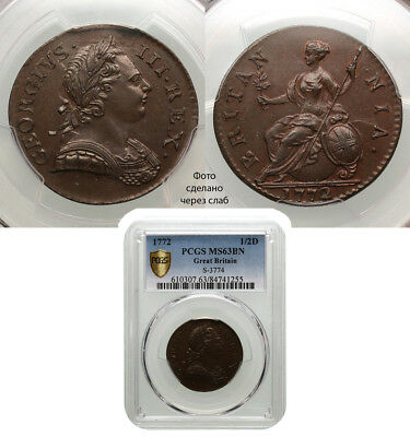 Great Britain. Halfpenny, 1772. PCGS graded MS-63 Brown. George III.