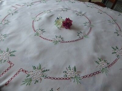 Vintage Hand Embroidered Linen Tablecloth=Beautiful Floral Bouquets - Lovely
