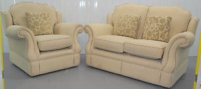 £2000 Reversible Cushion Fabric Upholstered Two Seat Sofa And Matching Armchair