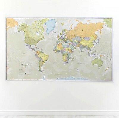 Huge Classic World Map Wallpaper Laminated Encapsulated 197cm Large Wall Print
