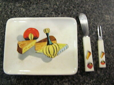 Cheese Plate W/ Knife & Fork Made In Japan Vintage Kitchsy 1950's Style